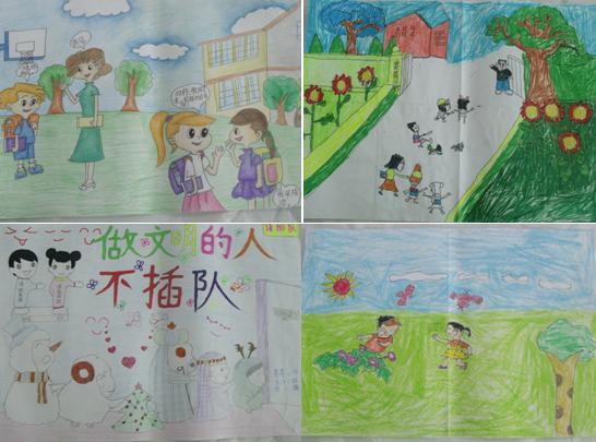 的绘画作品中.学生们通过自己动手、动脑,在学习礼仪中,实践