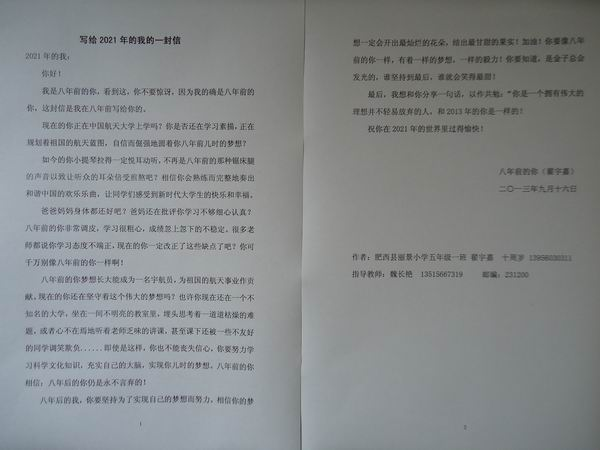 """上派镇丽景小学开展""""我的梦·中国梦""""书信文化活动"""